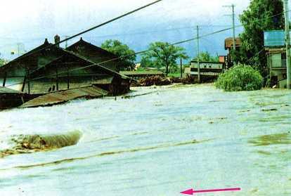 土淵川洪水写真(昭和50年8月洪水)