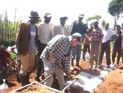 土のうを敷設